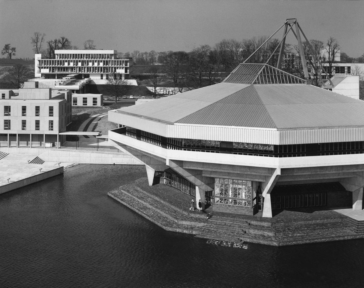 black and white image of University of York Central Hall. Hexagonal building, example of brutalist architecture