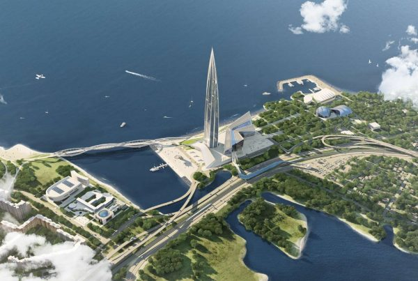 aerial-view-of-skyscraper-surrounded-by-water-lakhta-centre