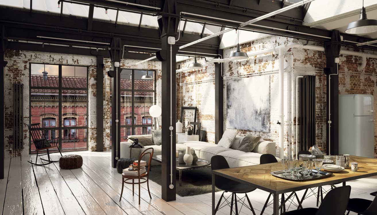 A Loft Apartment decorated simply. Exposed iron beams and brick walls as well as wooden floor boards give room industrial feeling.