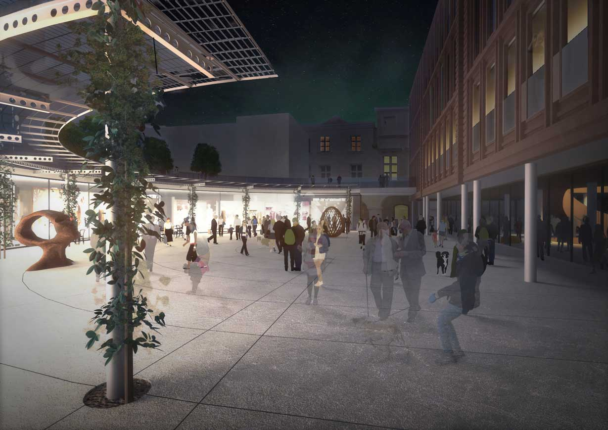 Computer renderings of building courtyard with column covered in ivy in the foreground