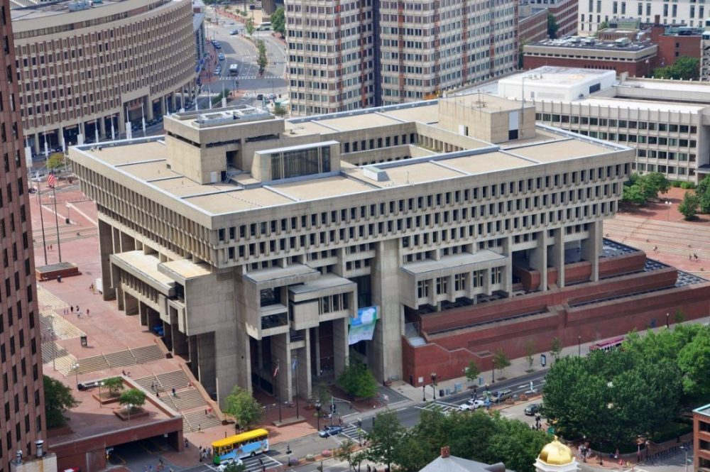 Ariel view of Boston City Hall, example of brutalist architecture