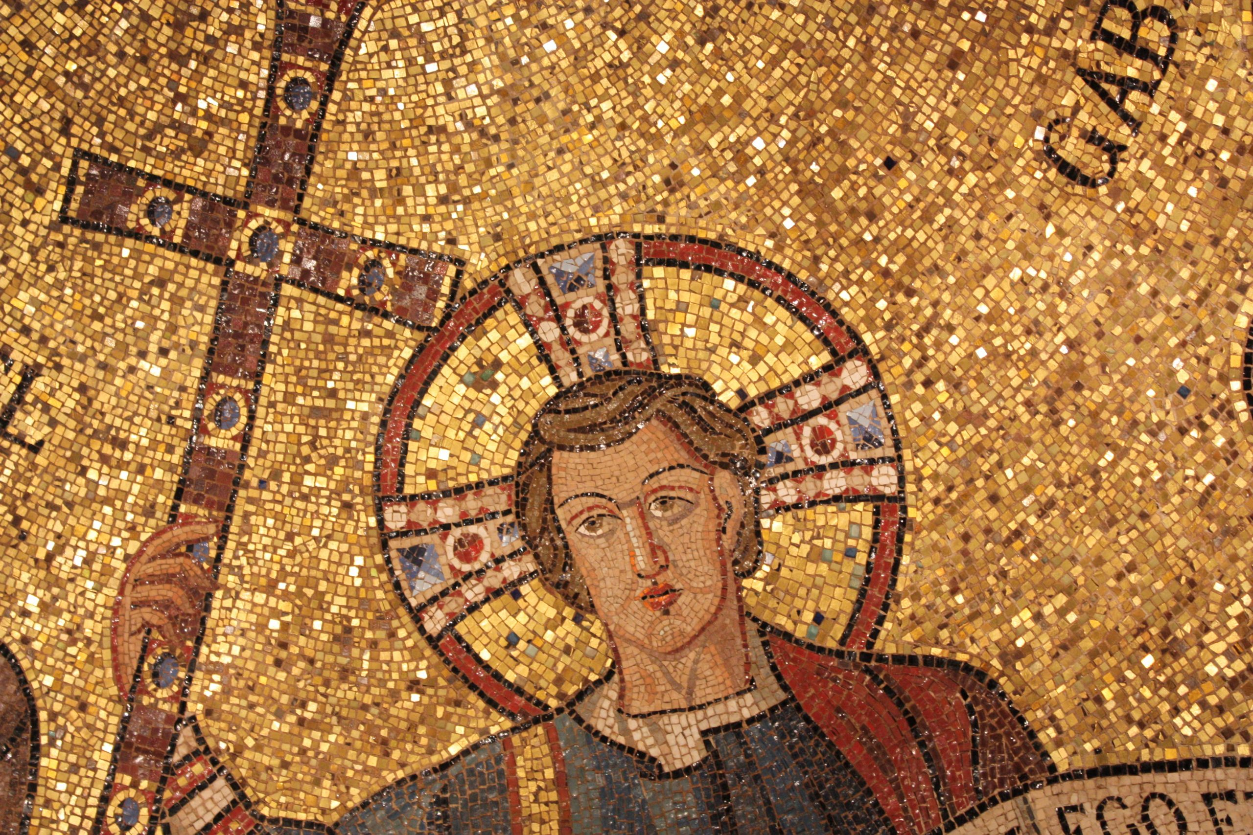 jesus mosaic in early christian style